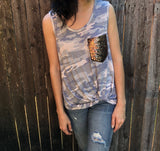 Camo Tank Top with Sequins - Aunt Lillie Bells