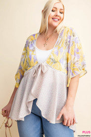 yellow and purple cardigan front tie in plus size