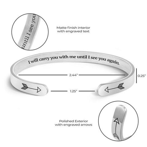 silver engraved cuff bracelet for love