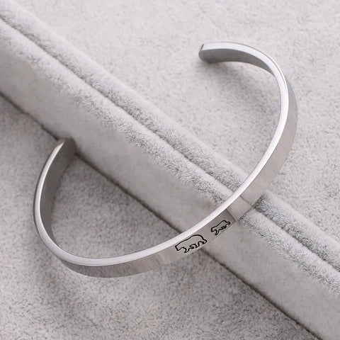 silver cuff bracelet with sayings