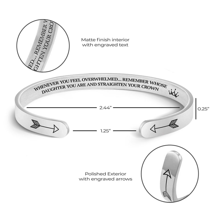 Product specifications, measurements, and features for the Straighten Your Crown bracelet.