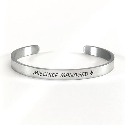 Mischief managed bracelet with silver plating