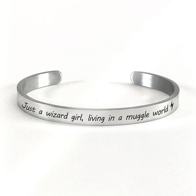 Just a wizard girl, living in a muggle world bracelet with silver plating