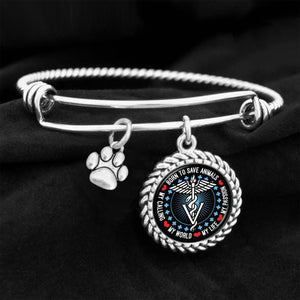 Born To Save Animals Veterinarian Charm Bracelet