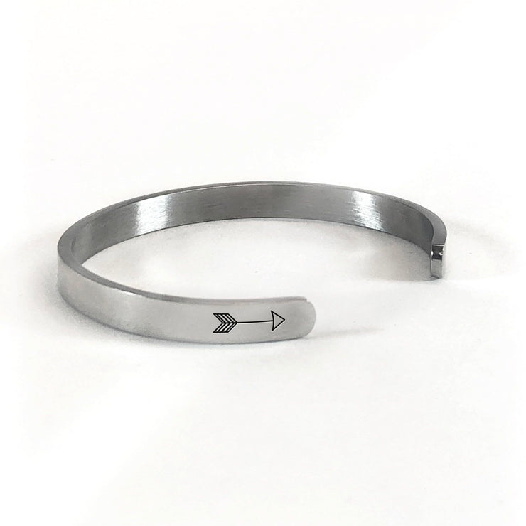 I solemnly swear that I am up to no good bracelet in silver rotated to show arrows and cuff opening
