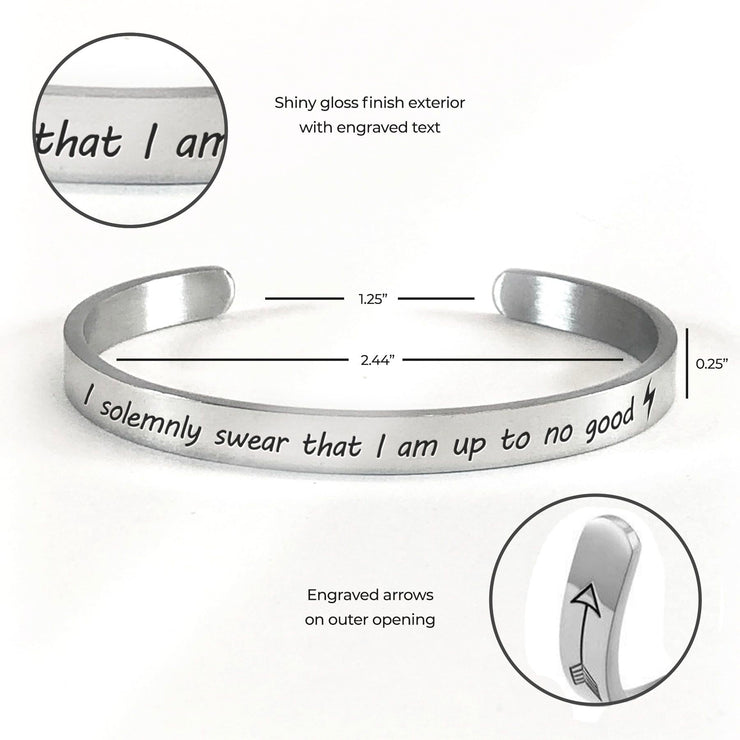 Product specifications, measurements, and features for the I solemnly swear that I am up to no good bracelet in silver