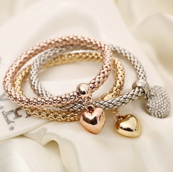 Solid Hearts Metal Bracelet