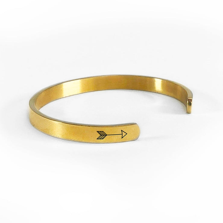 I solemnly swear that I am up to no good bracelet in gold rotated to show arrows and cuff opening