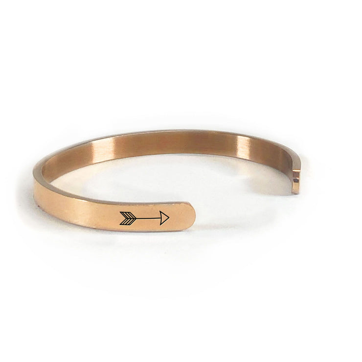 Alaska home state bracelet in rose gold rotated to show arrows and cuff opening