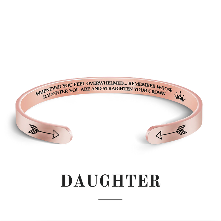 Remember whose daughter you are and straighten your crown bracelet with rose gold plating