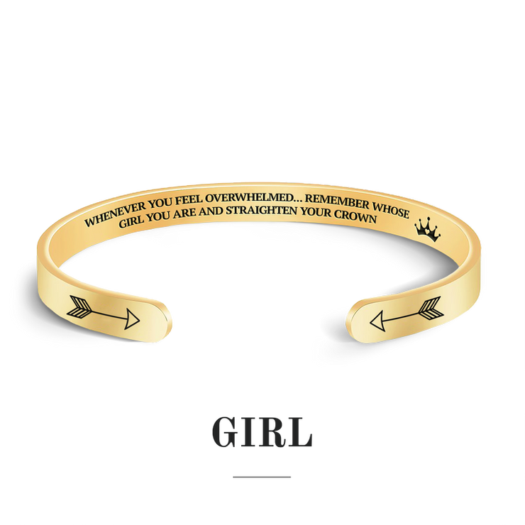 Remember whose girl you are and straighten your crown bracelet with gold plating
