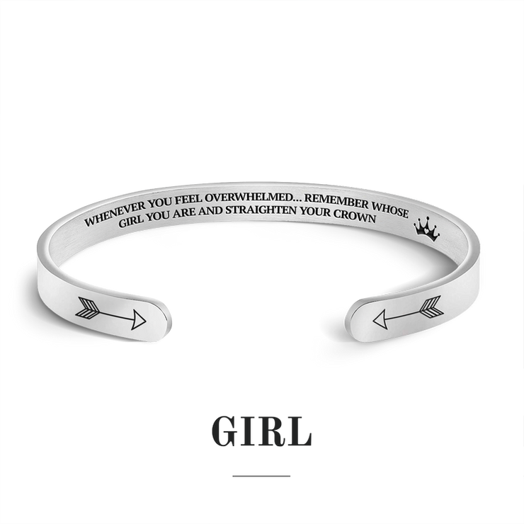 Remember whose girl you are and straighten your crown bracelet with silver plating