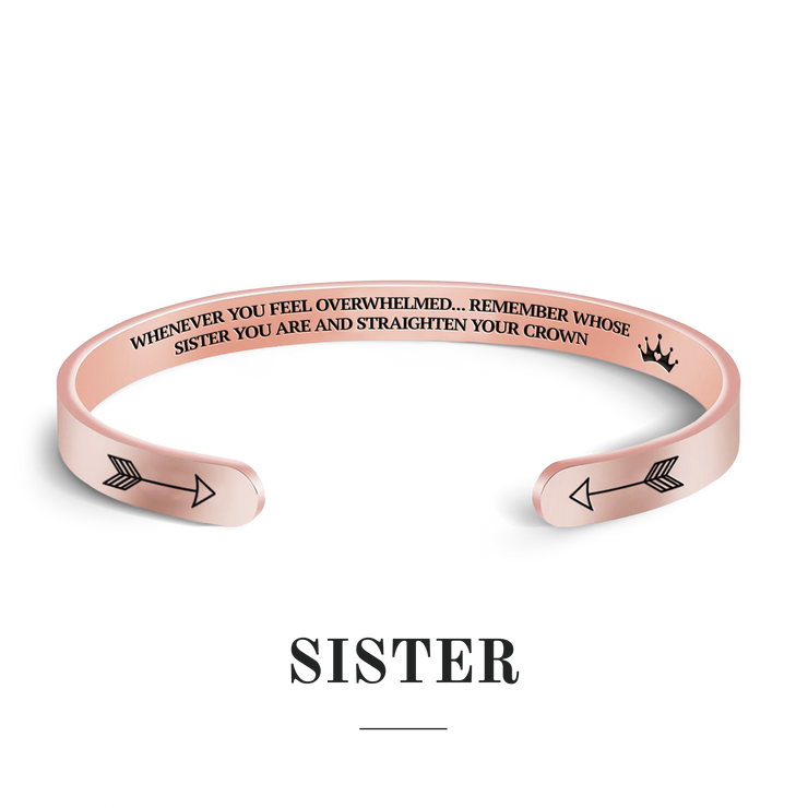 Remember whose sister you are and straighten your crown bracelet with rose gold plating