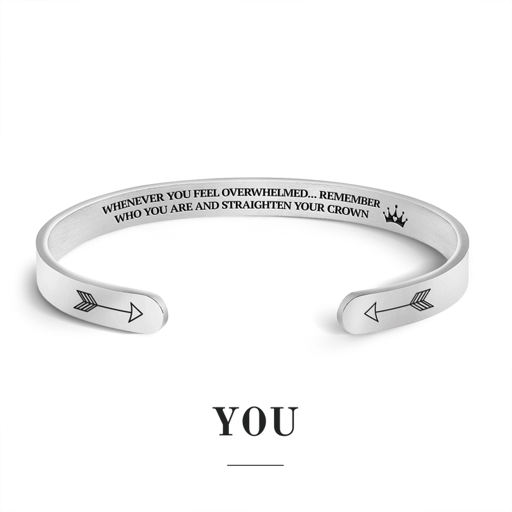 Remember who you are and straighten your crown bracelet with silver plating