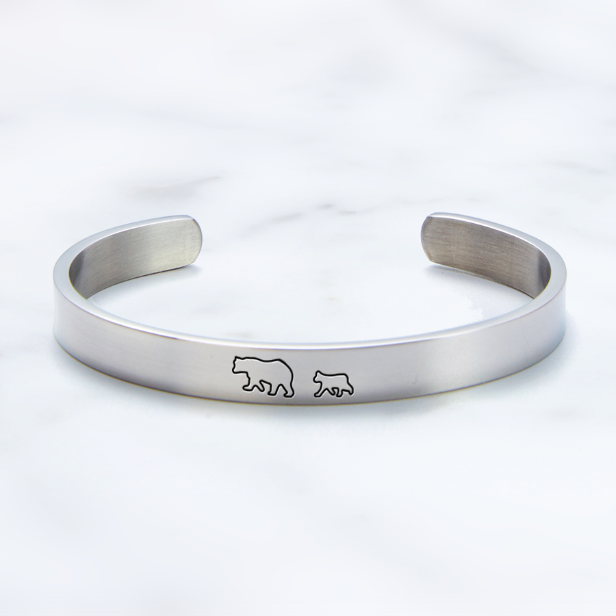 Baby shower present Mama bear cuff Engraved cuff bracelet Engraved jewelley Push present Gift for her New mother gift