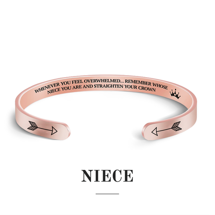 Remember whose niece you are and straighten your crown bracelet with rose gold plating