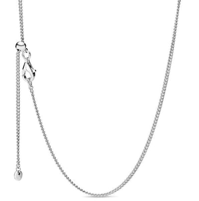 Italian Milano Adjustable Curb Chain Silver Necklace