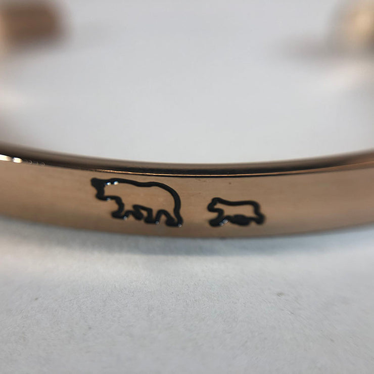 Mama Bear & Her Baby Bears Engraved Cuff Bracelet