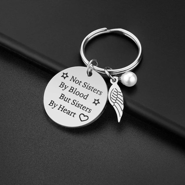 Not Sisters by Blood but Sisters by Heart Pendant Keychain Stainless Steel Gift.