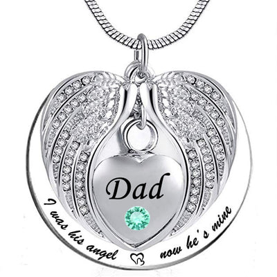 I Was His Angel Now He's Mine - Dad Angel Pendant Necklace with Birthstone Customization