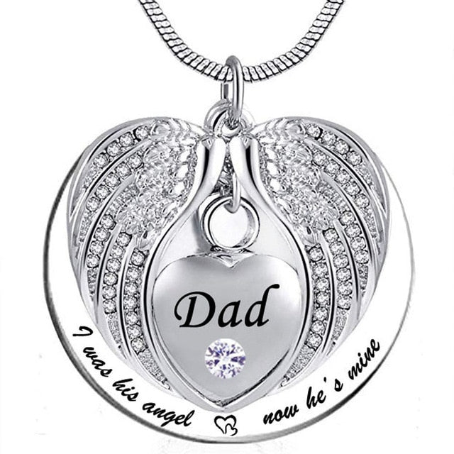Dad - I Was His Angel Now He's Mine Pendant Necklace