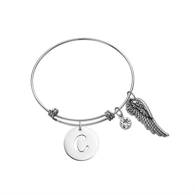 Custom Initial Guardian Angel's Wing Bracelet