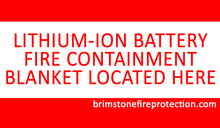 battery fire containment blanket located here