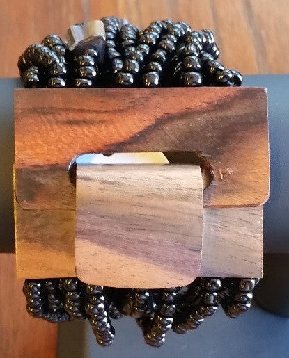 Balinese Wood Clasp Stretch Bracelet