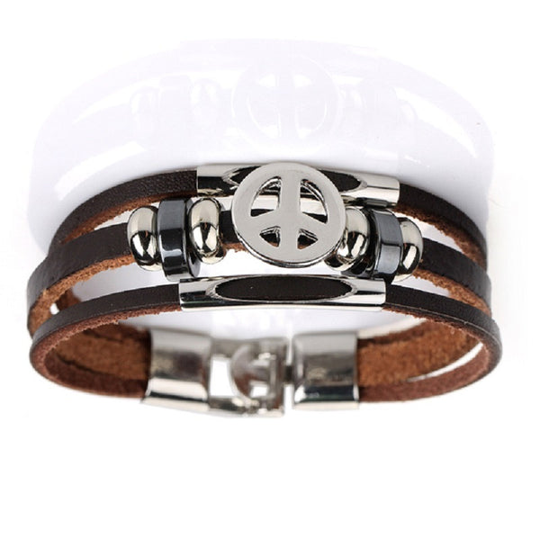 Leather Peace Bracelet Brown