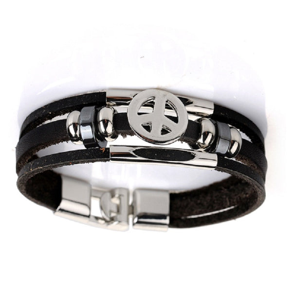 Leather Peace Bracelet Black