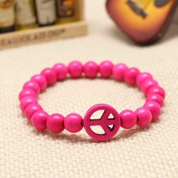 Turquoise Stretch Peace Bracelet Pink
