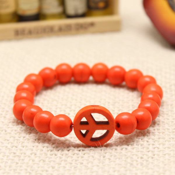Turquoise Stretch Peace Bracelet Orange