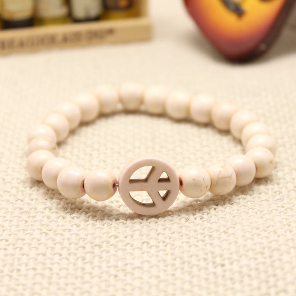 Turquoise Stretch Peace Bracelet White