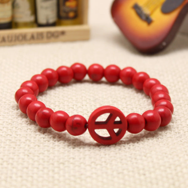 Turquoise Stretch Peace Bracelet Red