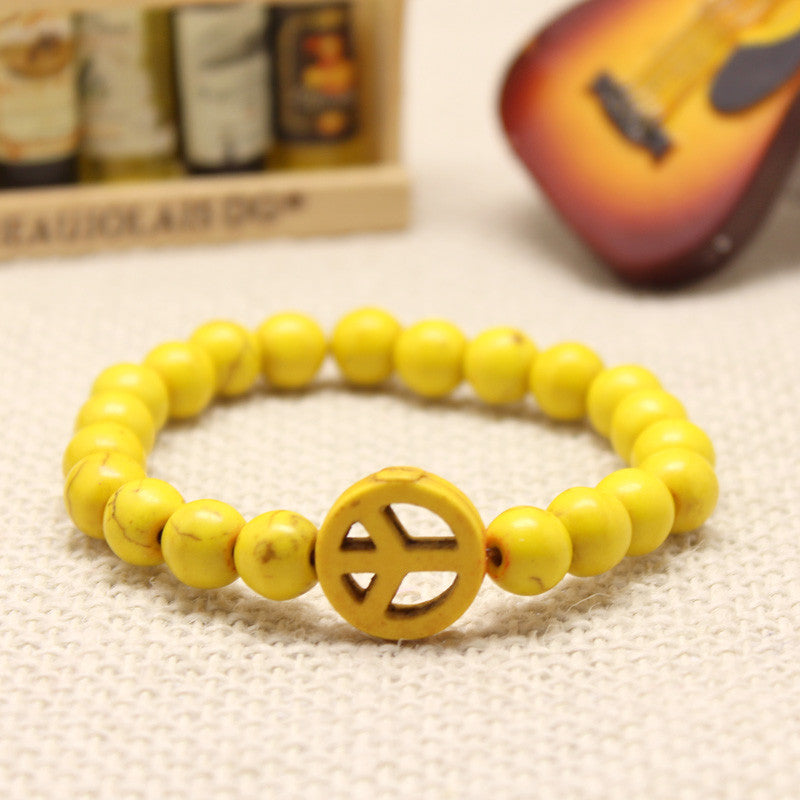 Turquoise Stretch Peace Bracelet Yellow