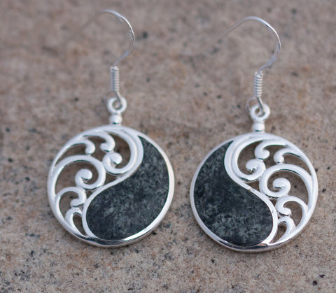 Balance earrings set in sterling silver and Preseli Bluestone mined in Pembrokeshire