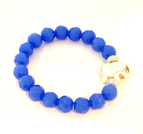 CERULEAN BLUE BEVELED GLASS SIGNATURE ELEPHANT BEADED BRACELET
