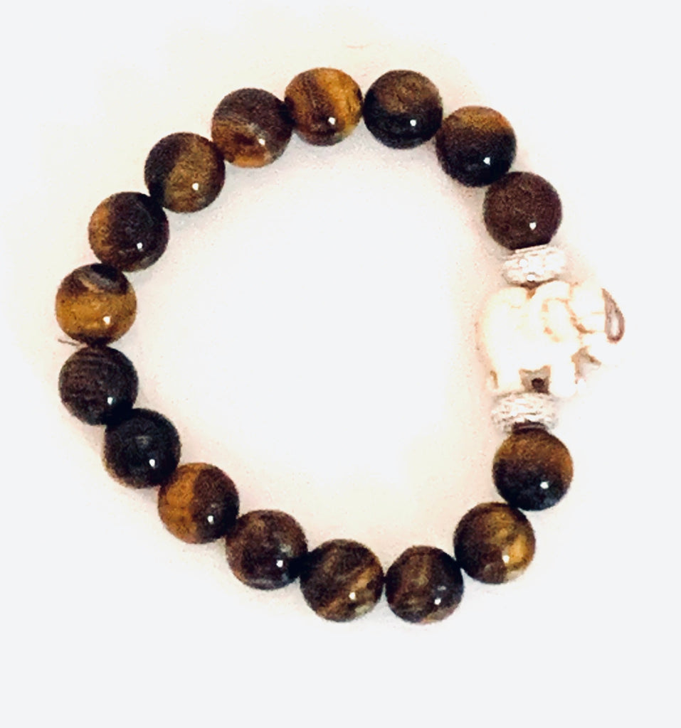 TIGER EYE SIGNATURE ELEPHANT BEADED BRACELET