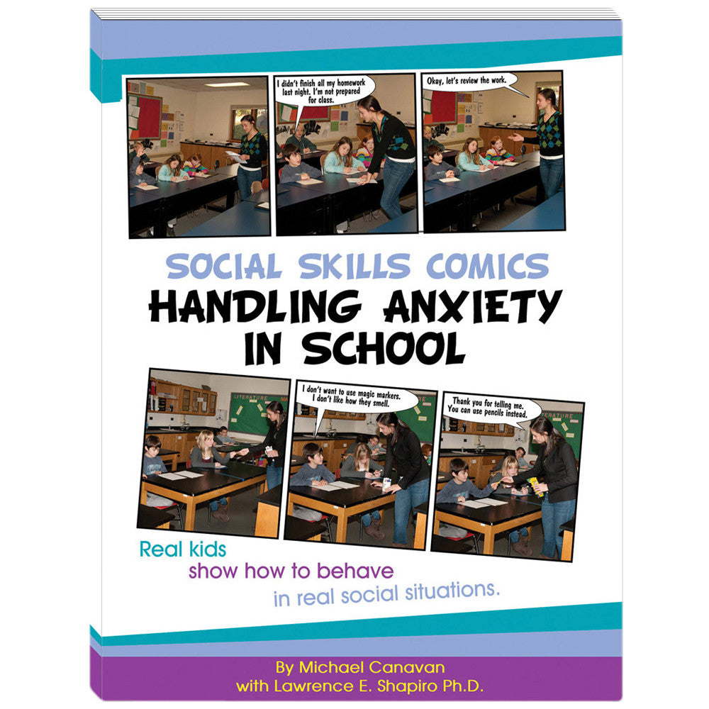 Social Skills Comics for Kids: Handling Anxiety in School Book w/CD product image