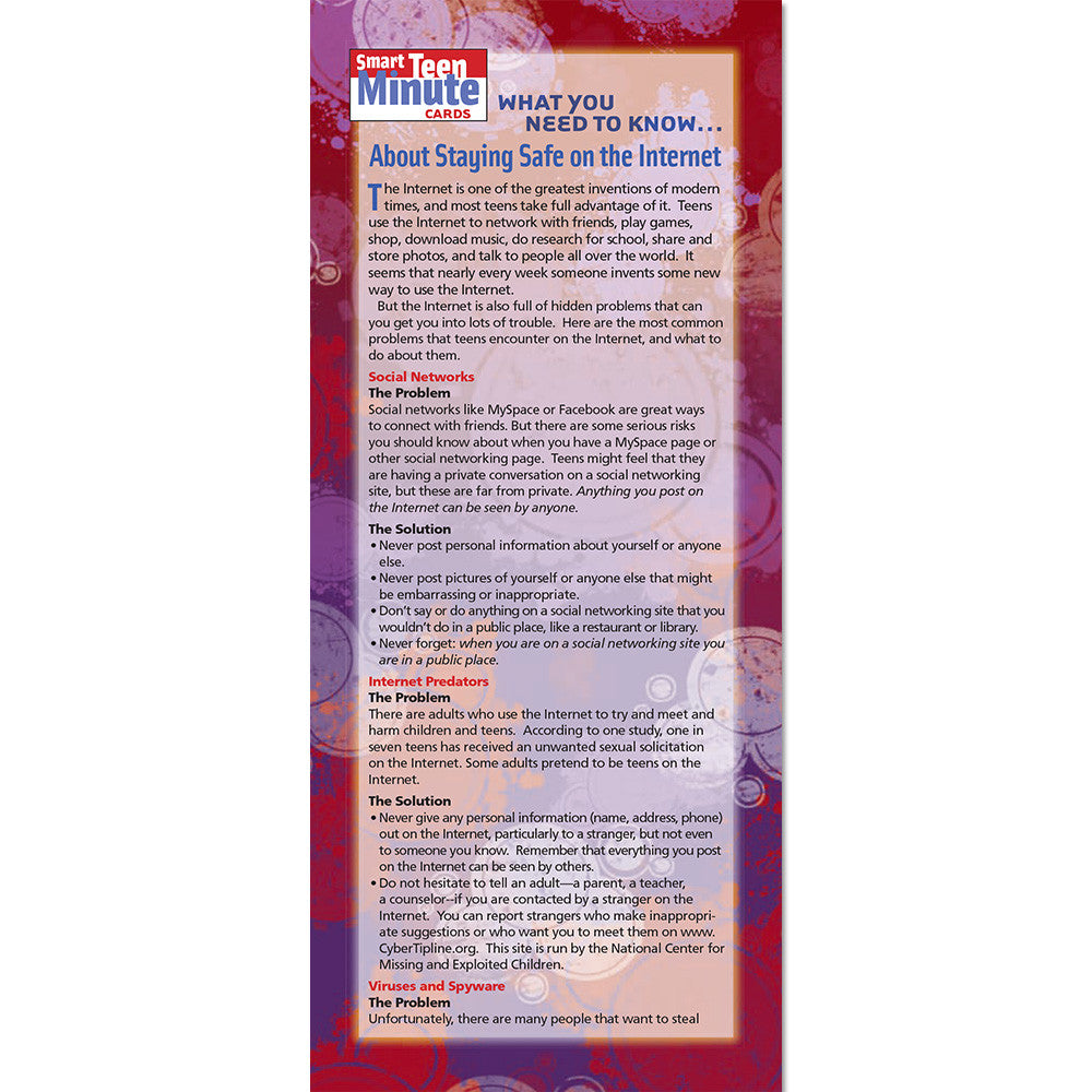 Smart Teen Minute Card: (50 Pack) What You Need to Know... About Internet Safety product image