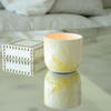 Painted Marble Candle - Yellow