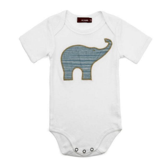Organic Cotton Elephant One-Piece/Blue - Gifted and Present