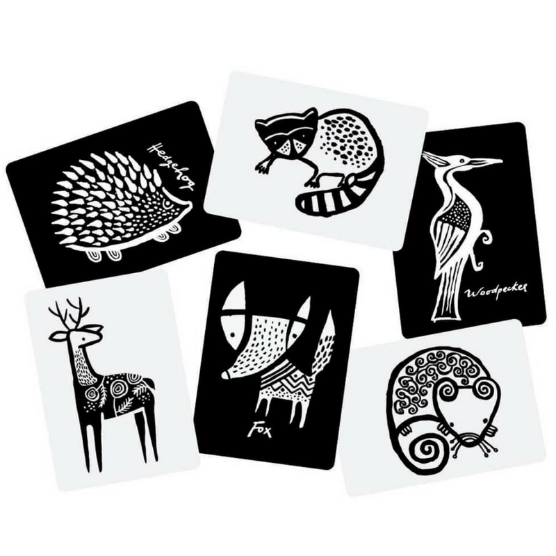 Woodland Animal Black-and-White Cards for Baby - Gifted and Present