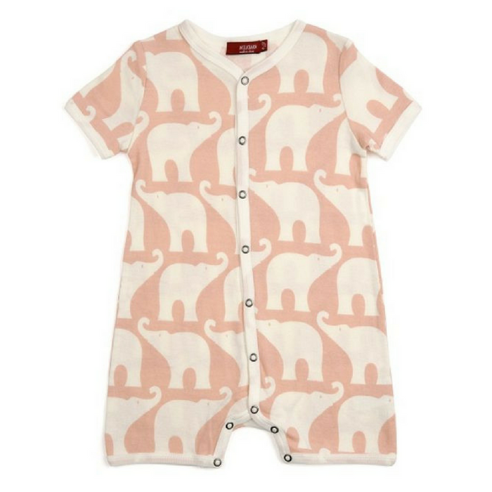 Organic Cotton Short Romper - Pink - Gifted and Present