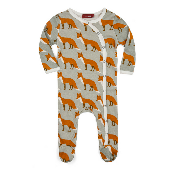 Organic Cotton Fox-Print Footed Romper - Gifted and Present