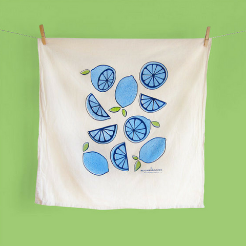 Blue Lemon/Lime Tea Towel - Gifted and Present