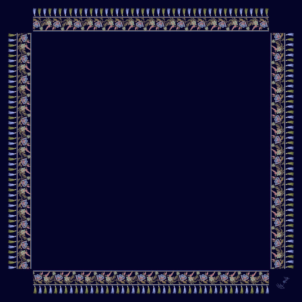 7165 - DP Navy w/Floral Border