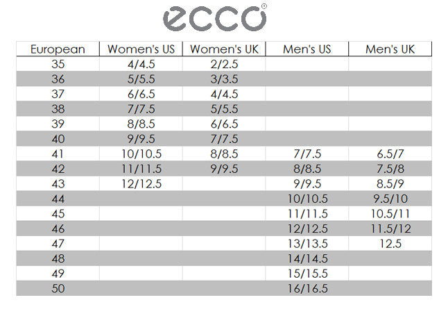 Ecco Size Chart Outdoor Equipped