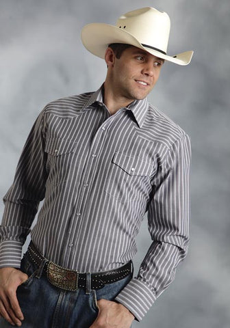 Roper Mens 9659 Grey & White Stripe L/S Shirt