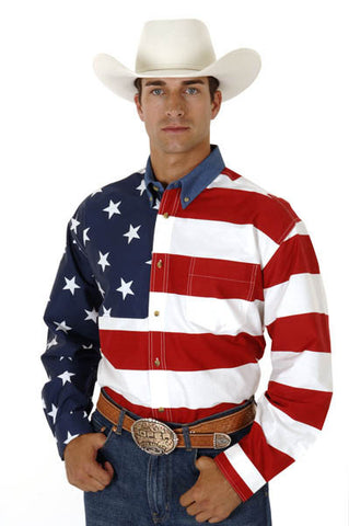 Roper Mens Stars & Stripes Pieced American Flag L/S Shirt